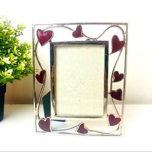 Silver Red Hearts Boarder Photo Frame 20cm x 15cm